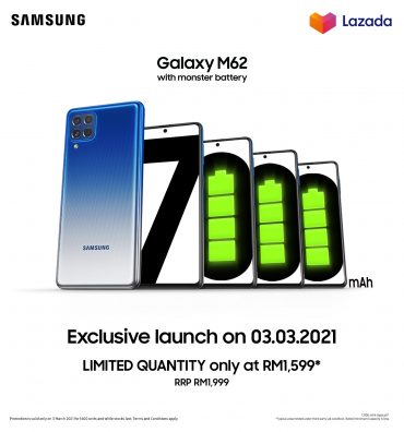 Samsung Launches the Galaxy M62 in Malaysia